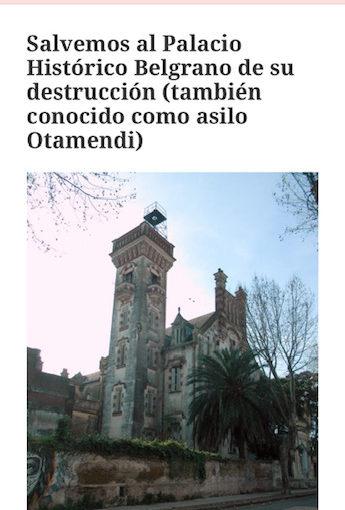 Sociedad de Arquitectos. Zona Norte. Conferencia «Salvar al Palacio Belgrano».